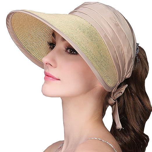 Maitose Trade  Women Foldable UV Protective Visor Hats Beige at ... 0b45f7191246