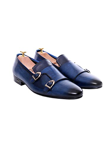 Zeve Shoes Loafer Slipper - Electric Blue Double Monk Strap (Hand Painted Patina) (