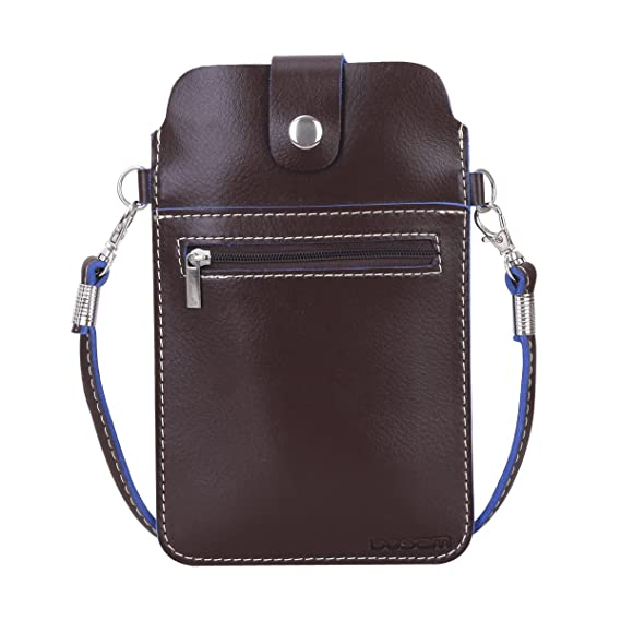 7a03d367b5cc PU Leather Cellphone Pouch,iPhone Purses Crossbody case with Strap for  Girls Woman(Large Brown)