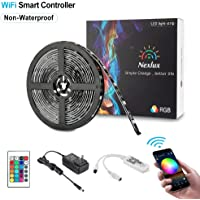 Nexlux LED Strip Lights, WiFi Wireless Smart Phone Controlled Light Strip Kit 5050 Waterproof IP65 LED Lights,Working with Android and iOS System,Alexa, Google Assistant