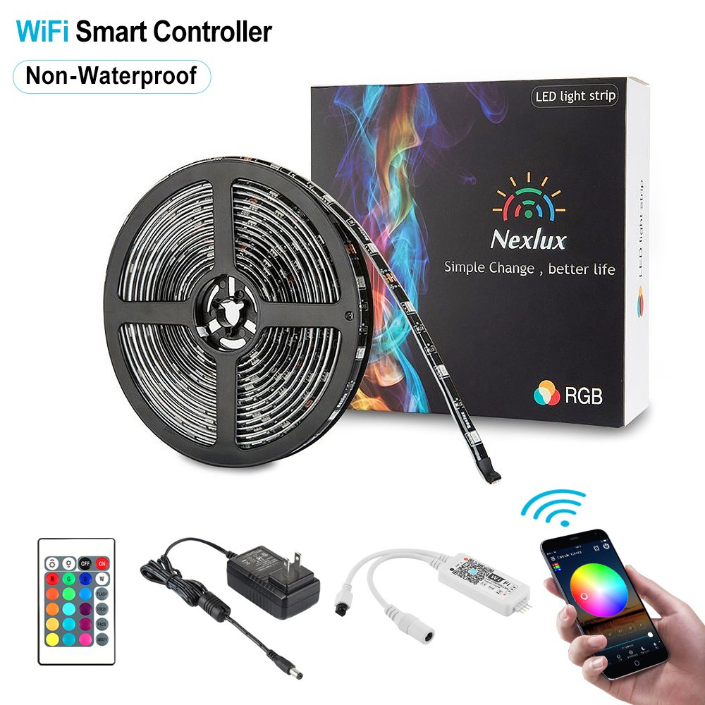 Nexlux LED Strip Lights, Wifi Wireless Smart Phone Controlled Light Strip Kit 16.4ft 150leds 5050 Non-Waterproof LED Lights,Working with Android and IOS System,IFTTT, Google Assistant by Nexlux