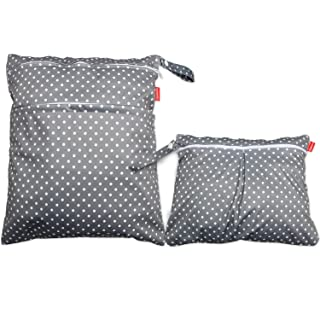 Damero 2pcs Wet and Dry Bag, Travel Wet Dry Bag with Handle for Cloth Diaper, Pumping Parts, Clothes, Swimsuit and More, Gray Dots