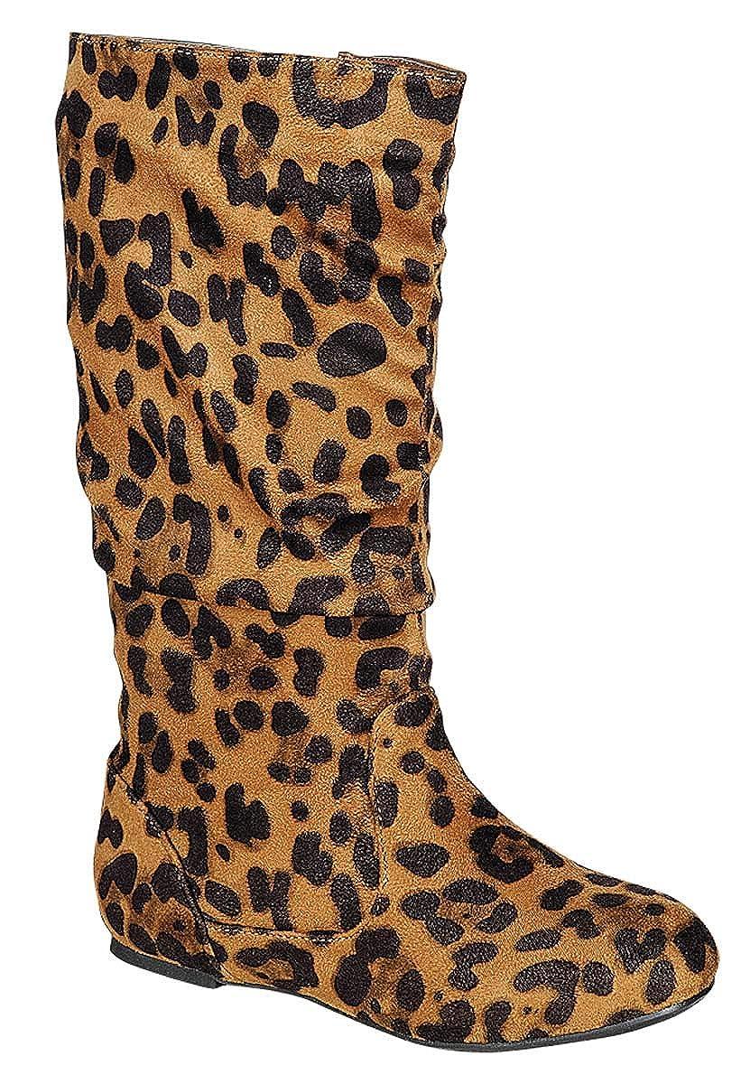 Girls Kids Toddler Slouchy Side Zipper Comfort Flat Knee Animal Print High Boots