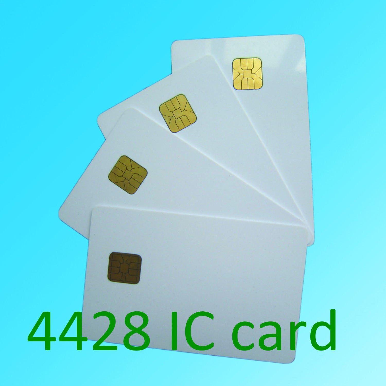KingGo 100pcs white PVC card with SLE4428 chip contact smart card hotel key card ISO7816