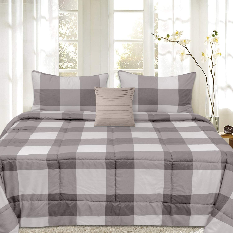 Sweet Home Collection Comforter Set 4 Piece Buffalo Check Plaid Design Soft and Luxurious All Season Down Alternative Reversible Bedding - 2 Shams & Throw Pillow, King, Gray