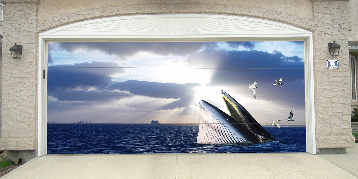 Re-Usable 3D Effect Garage Door Cover Billboard Sticker Decor Skin - Whale - Sizes to fit your Garage.