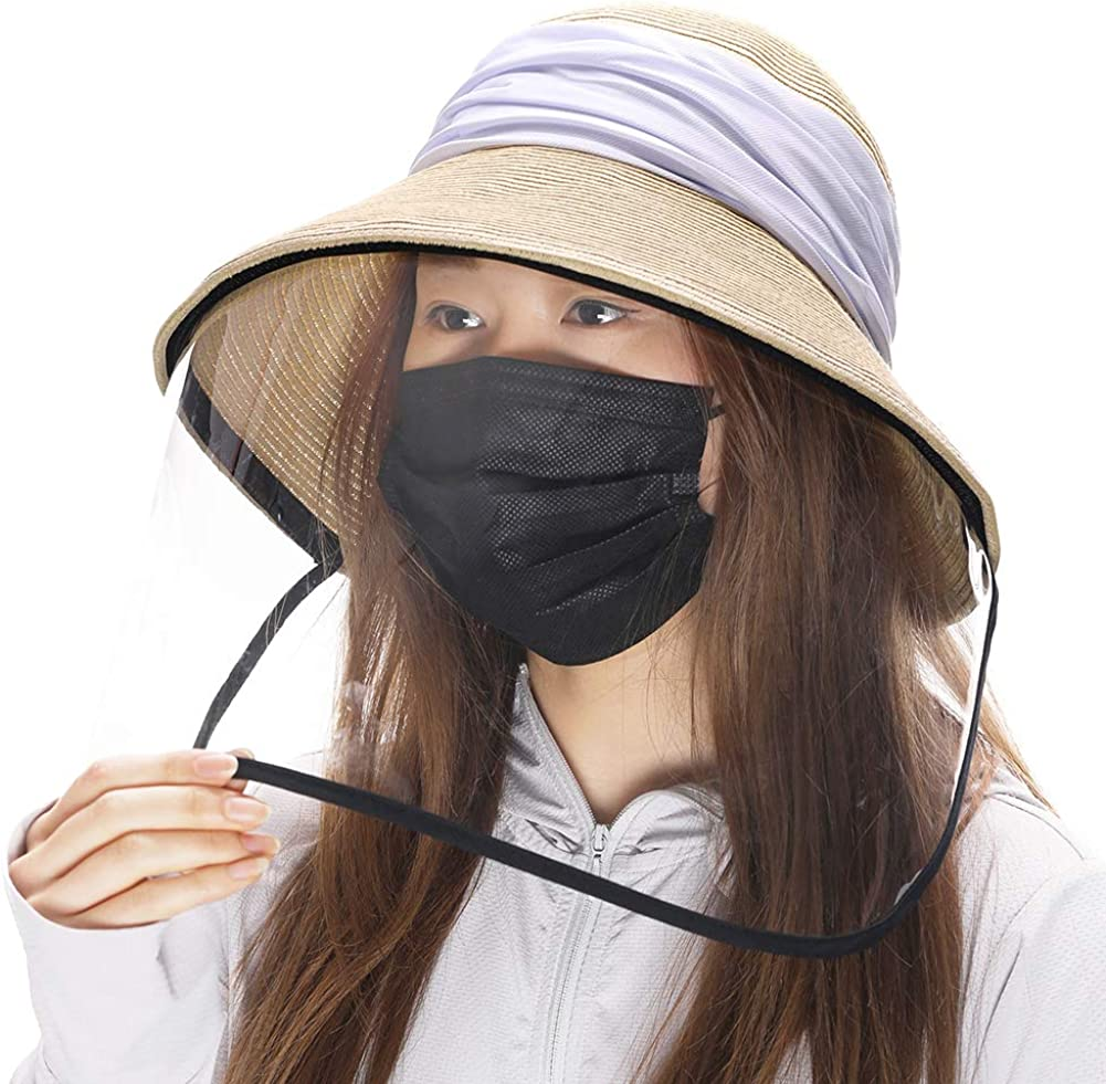 Womens UPF 50 Straw Sun Hat Floppy Wide Brim Fashion Beach Accessories Packable & Adjustable