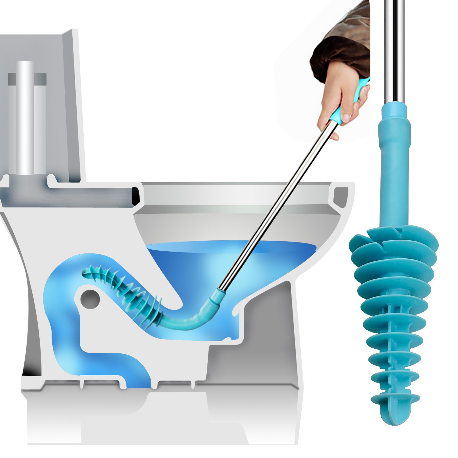 Samshow Toilet Plunger, Toilet Dredge Designed for Siphon-Type, Power Cleaned Toilet Pipe, Patented, Environmentally Friendly, Stainless Steel Handle with Wall Hook by Samshow