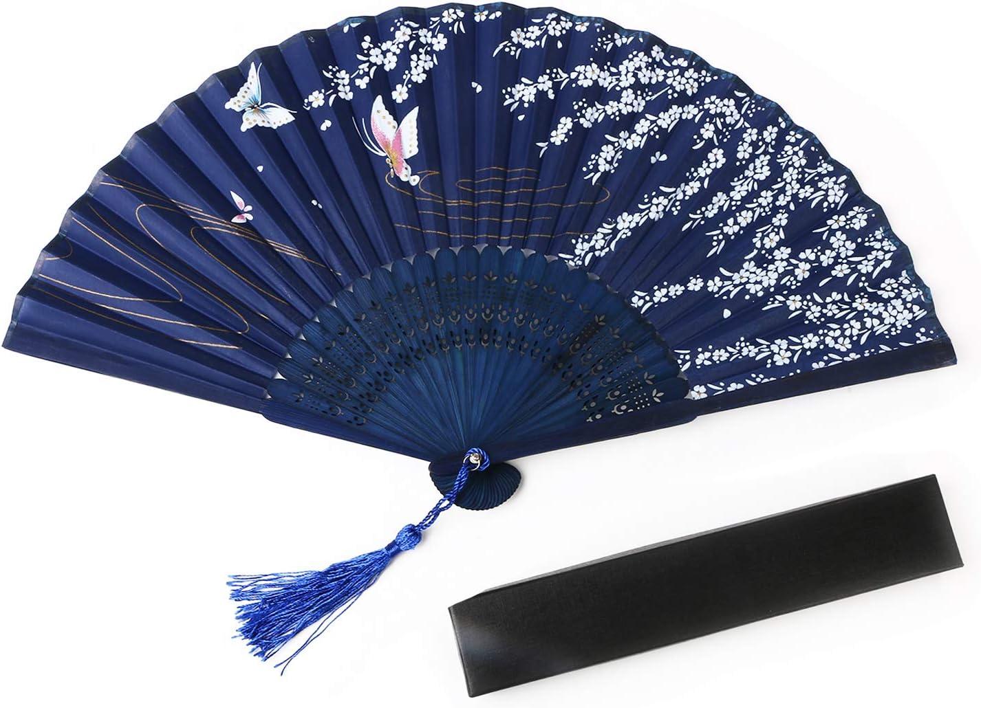 URAQT Abanico de la Mano, Plegable de Mano Abanicos Abanico Madera con Borla Bambú y Seda Ventilador de Mano Japones Patrón Mariposa Flor de Cajas de Regalo para Baile Fiesta Ceremonias, 1 Piezas