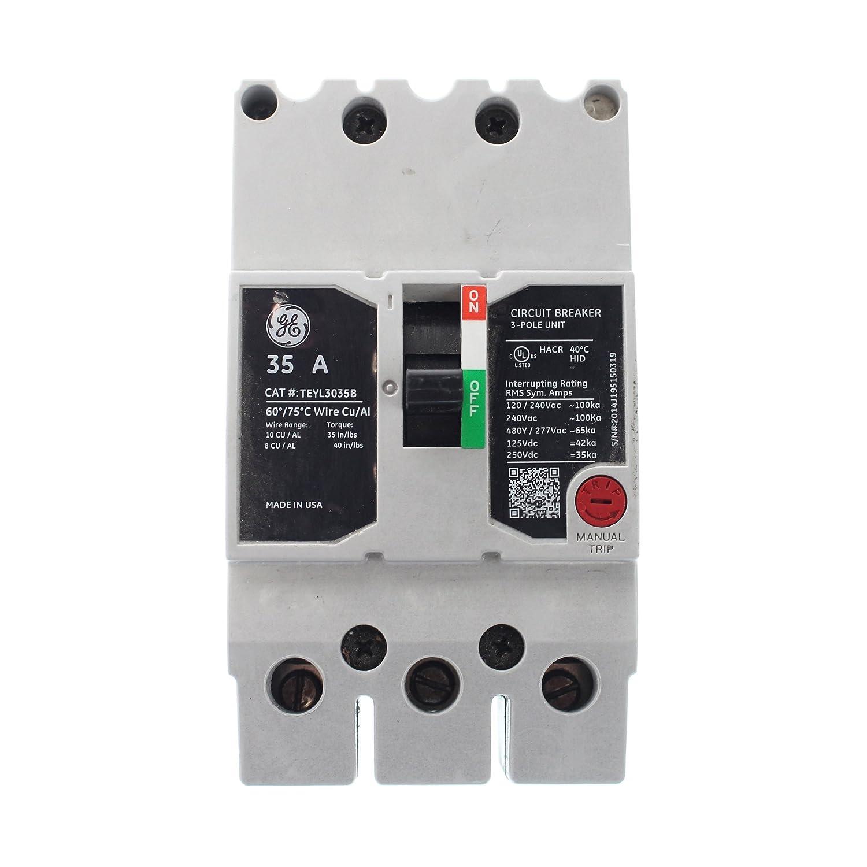 GE TEYL3035B Circuit Breaker, 277/480-Volt, 3-Pole, 35-Amp, 65kAIC on power wiring, subpanel wiring, load center wiring, septic tank wiring, swimming pool wiring, lighting wiring,