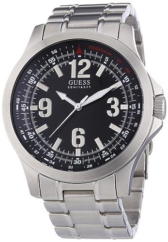 Guess SKYLINE W85106G1 - Reloj analógico de cuarzo para hombre, correa de acero inoxidable color plateado: Amazon.es: Relojes