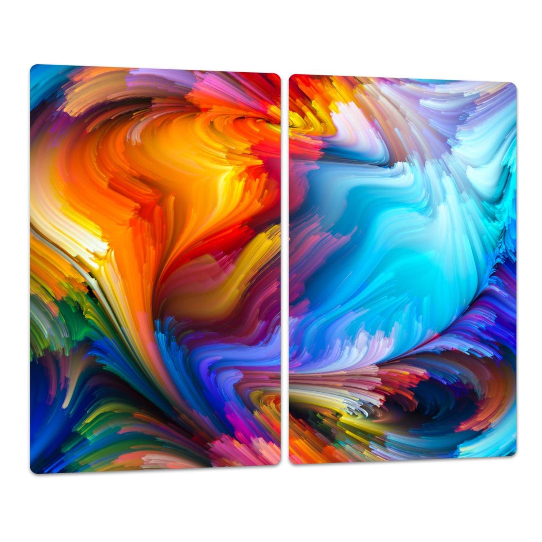 geh/ärtetes Glas einteilig universal 52x60 cm Noppen Dynamic Color Herd Ceranfeld Abdeckung DekoGlas Herdabdeckplatte inkl