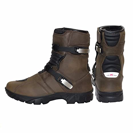 PROFIRST Genuine Leather Waterproof Motorbike Short Half Mid Ankle Off Road Boots Adventure Touring Motorcycle Shoes Casual Racing Sports Touring UK 9 EU 43 Brown