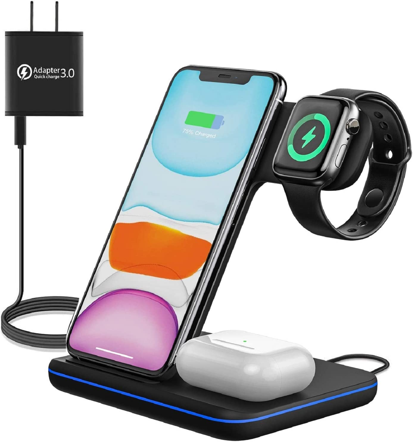 Upgraded Wireless Charging Station, 3-in-1 Wireless Charger Stand for Apple Watch 6/5/4/3/2/1, Airpods Pro/2, iPhone SE II/11/11 Pro/11 Pro Max, XS Max/XS/XR/X/ 8/ Plus, Samsung S20/S10/S9, Note 10/9