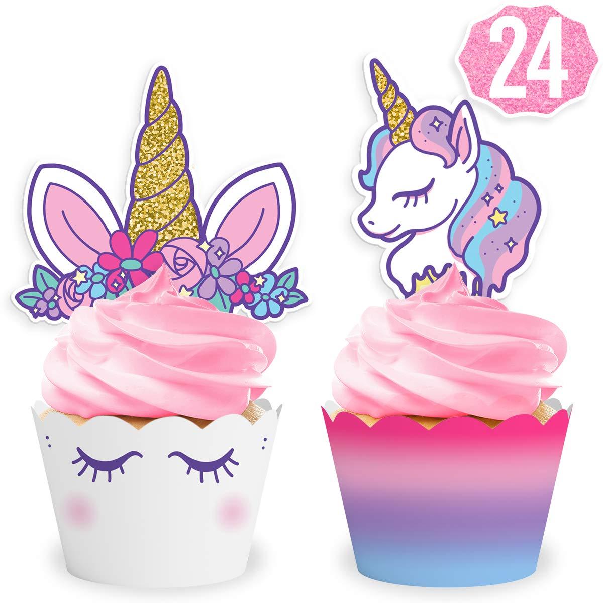 xo, Fetti Unicorn Cupcake Toppers + Wrappers   Unicorn Party Supplies + Unicorn Birthday Cupcake Decorations - Set of 24