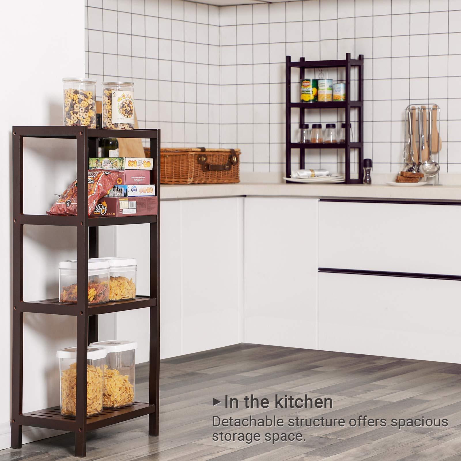 SONGMICS 7-Tier Bamboo Bathroom Shelf, 2-in-1 Design Adjustable Storage Rack, Free Standing Multifunctional Organizer, Shelving Unit for Washroom, Living Room, Kitchen, Brown UBCR01BR by SONGMICS (Image #5)