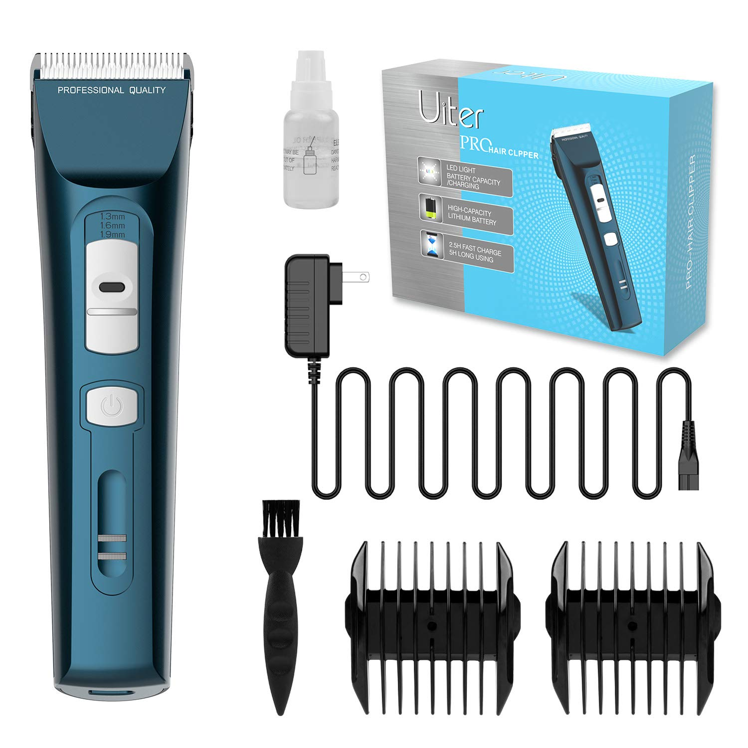 Uiter Clippers for Hair Cutting  5 Hour Long Life Battery Complete Hair Cutting Kit for Men Women