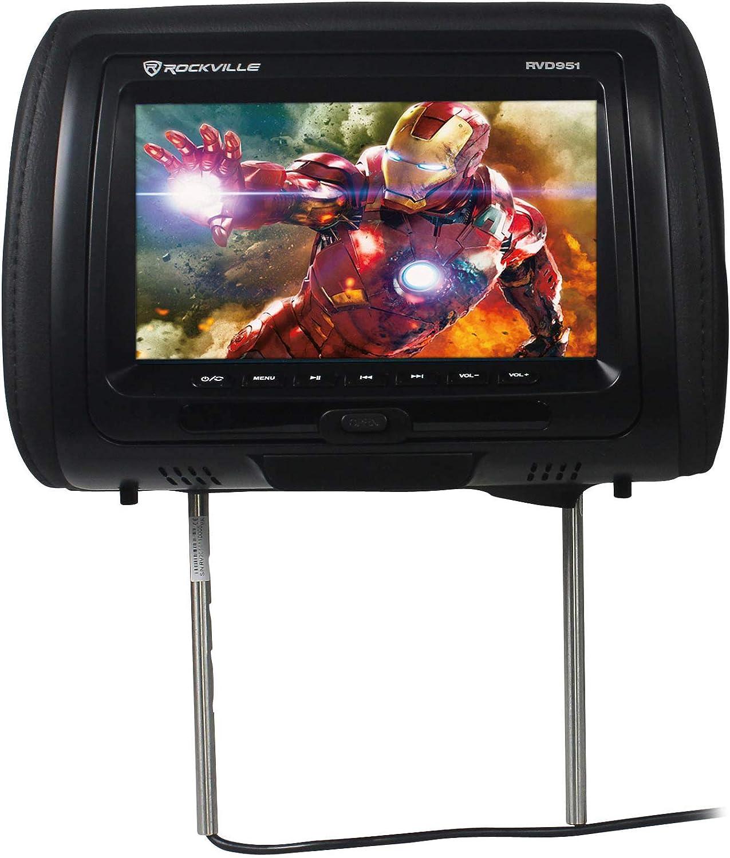 Rockville RVD951-BK 9 Inch Black Plug N Play Dual DVD//USB//HDMI Car Headrest Monitors RVD951-BK v2