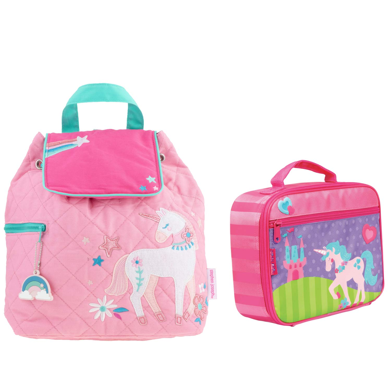 Stephen Joseph Quilted Unicorn Backpack Book Bag and Lunch Box