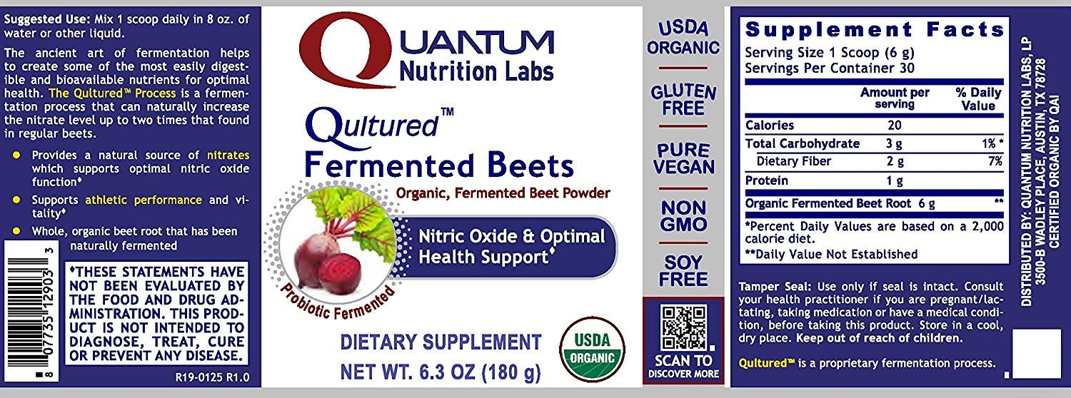 Qultured Fermented Beets, 25.2oz Powder, Organic Fermented Beets for Nitric Oxide & Health Support from Quantum Premier Research Labs by Quantum Nutrition Labs (Image #2)