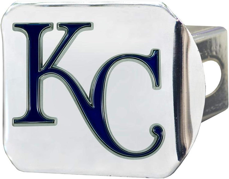 Rico Industries, Inc. Kansas City Royals Premium Heavy Duty Solid Metal Color Chrome Hitch Cover Bumper Trailer Baseball