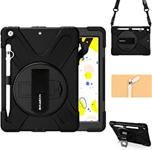 BRAECN iPad 10.2 Case 2020/2019, iPad 8th/7th Generation Case with Pencil Holder, Heavy Duty Rugged Shockproof Case with Pencil Cap Holder, Hand Strap, Kickstand, Shoulder Strap, Storage Pouch-Black