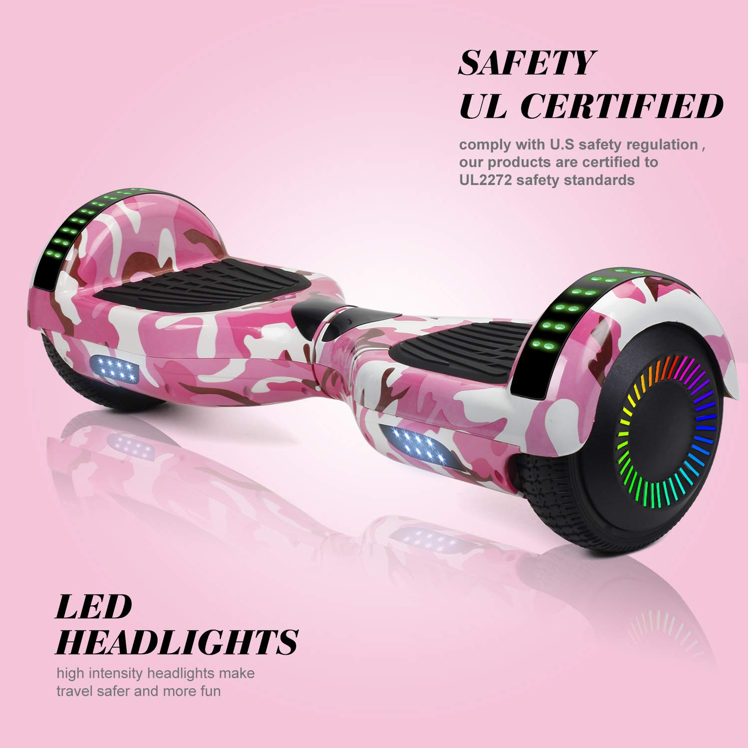 SWEETBUY Hoverboard UL 2272 Certified 6.5 Two-Wheel Self Balancing Electric Scooter with LED Light Flash Lights Wheels Free Carry Bag