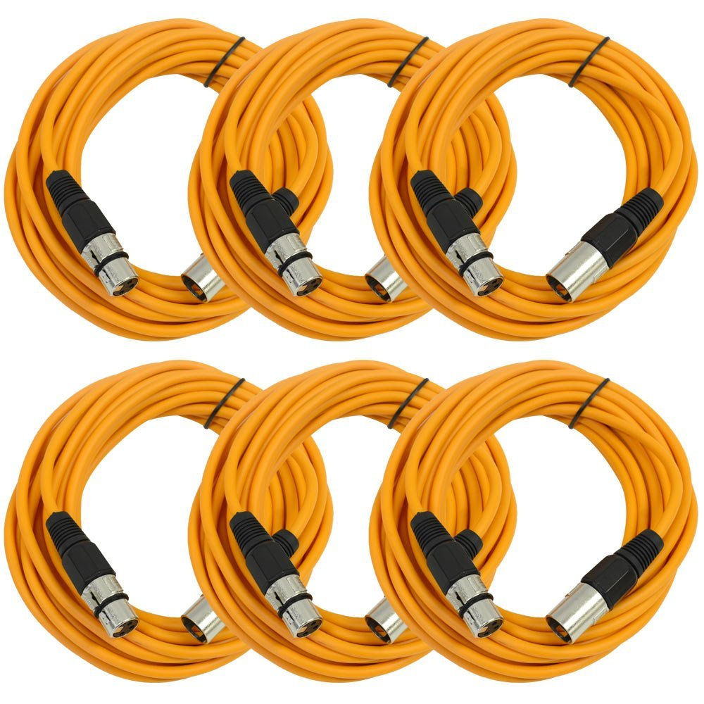 Seismic Audio SAXLX-25Orange6 Pack of 25-Feet Orange XLR Male to XLR Female Microphone Cables, Balanced