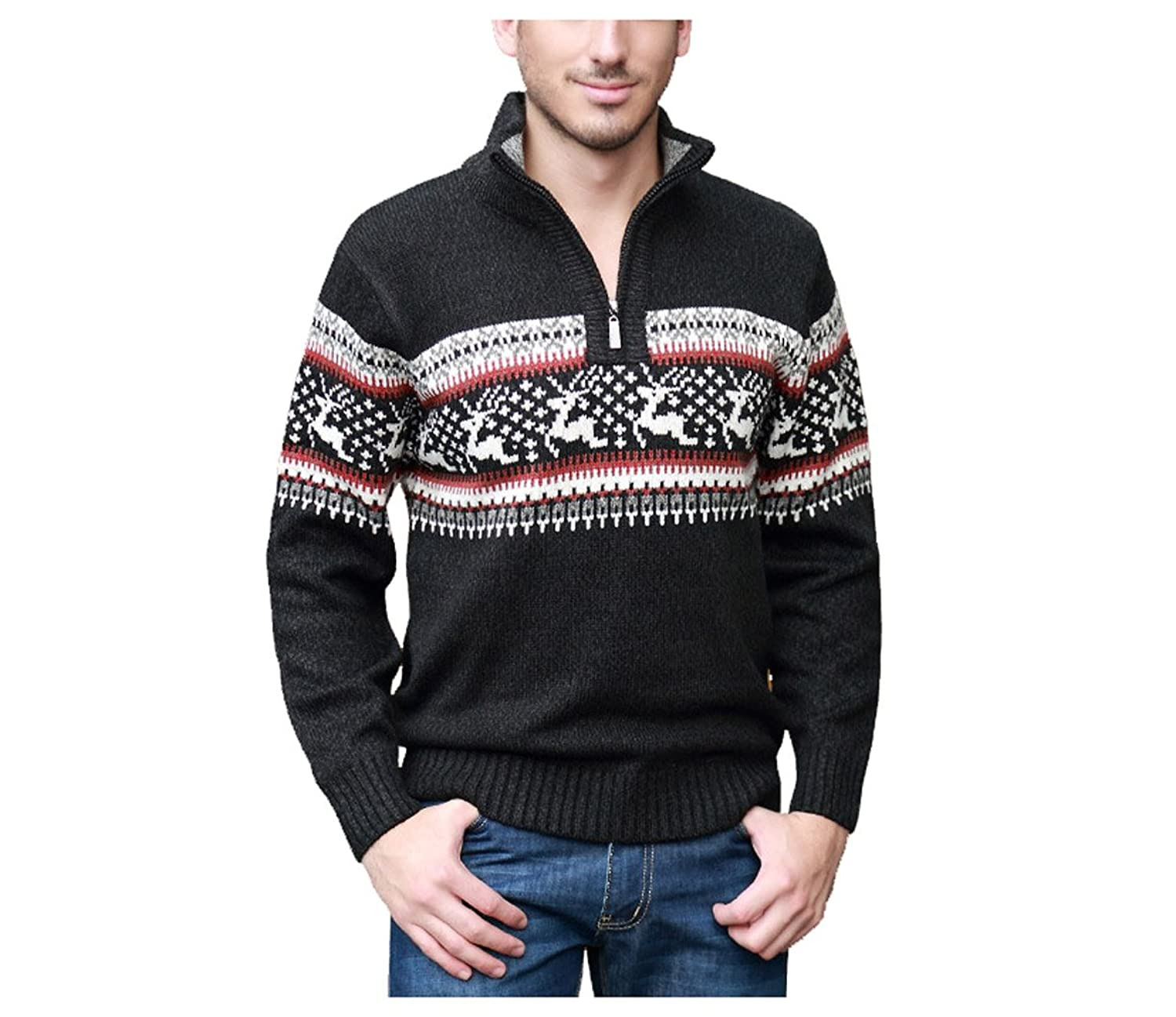 Abetteric Men Solid V Neck Vogue Long Sleeve Sweater Outwear Knit Pullover