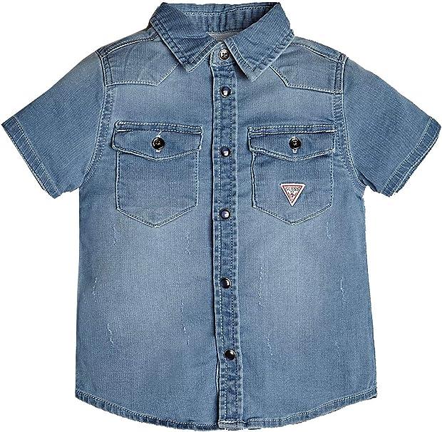 Guess - Camisa de Vaquero de Media Manga para niño Jeans 4 años: Amazon.es: Ropa y accesorios