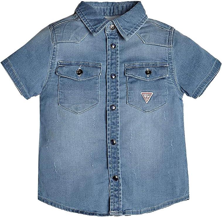 Guess - Camisa de Vaquero de Media Manga para niño Jeans ...
