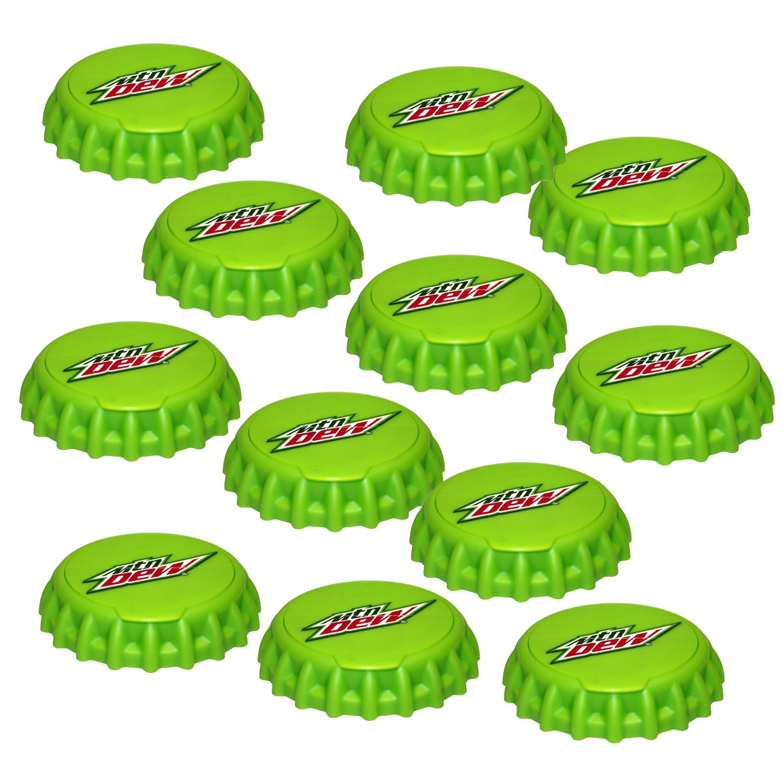 Jokari 12 Count Mtn Dew Modern Logo Snap and Sip Can Caps, Green