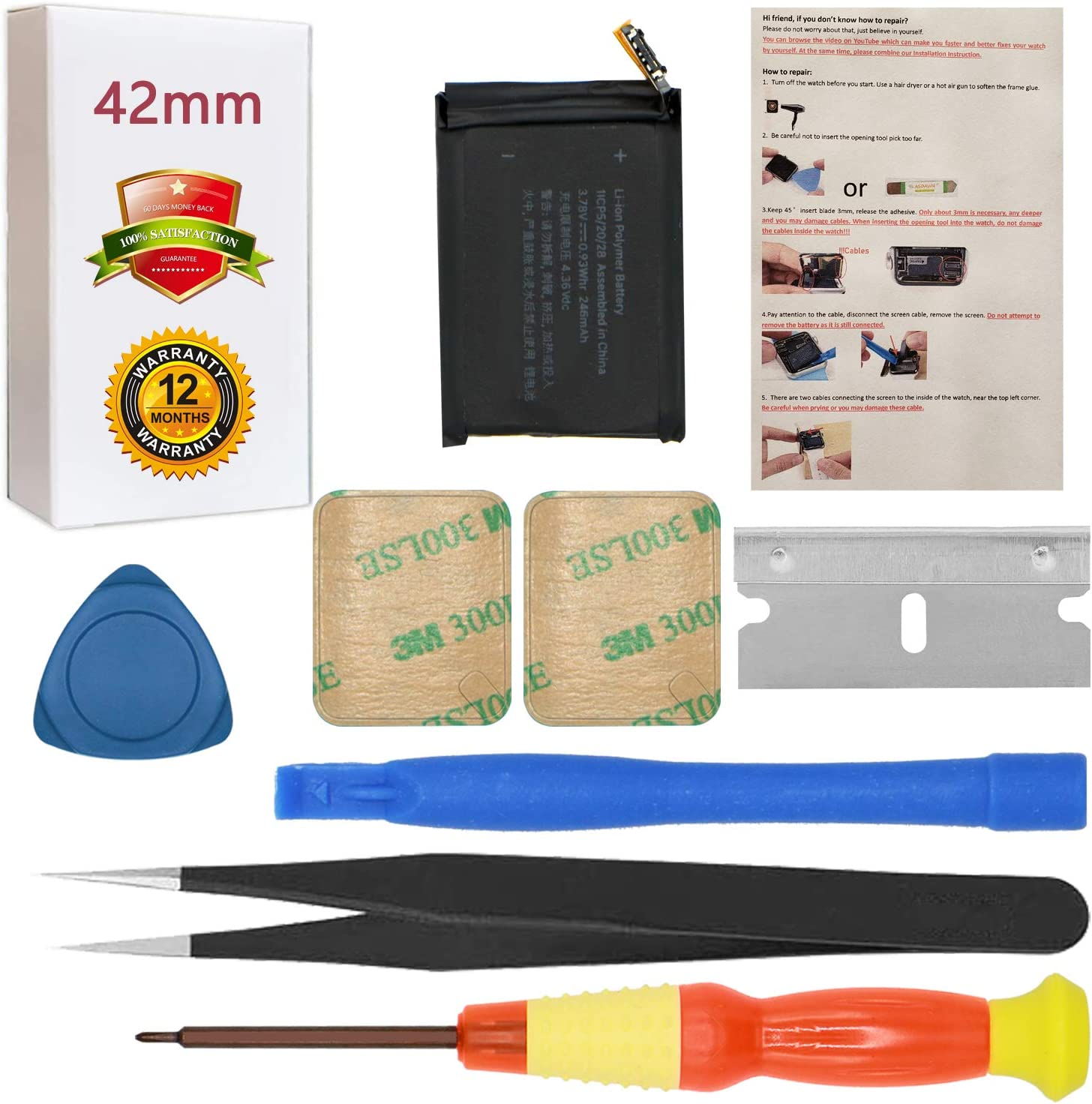 for 42mm Apple Watch Series 1 Battery Replacement A1554 A1579 A1803 with Repair Tool Set + Installation Instruction + Back Cover Adhesive