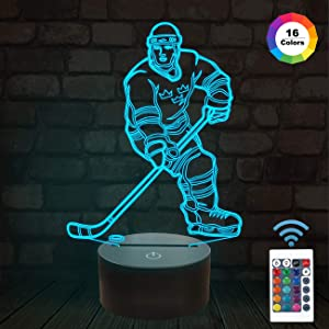 FULLOSUN 3D Night Lights Ice Hockey Athlete 3D Illusion Bedside Lamp 16 Colors Changing with Remote Control Best Birthday Gifts for Men Women