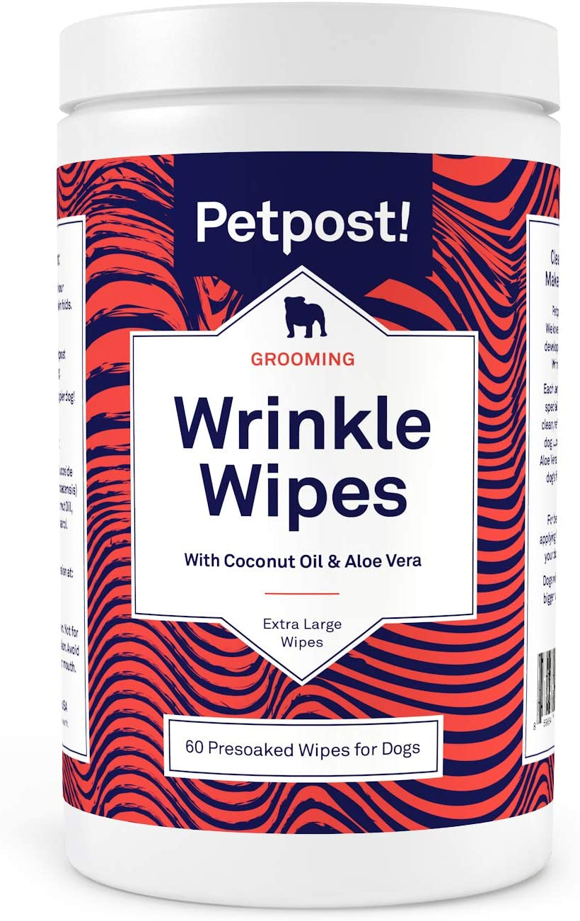 Bulldog Wrinkle Wipes for Dogs 100 Ultra Soft Cotton Pads in Coconut Oil Solution Petpost Cleans and Soothes Pug Wrinkles and Folds