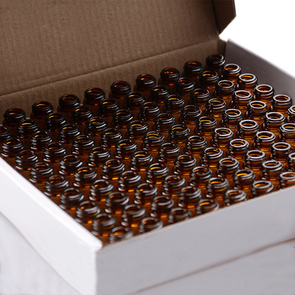 Furnido 100Pcs tiny Amber DIY essential oil Bottle 2ml 5 8 drams small brown Sample vials with orifice reducer black cap Perfume Test Bottle blank label Stickers 2ml Transfer Pipette included
