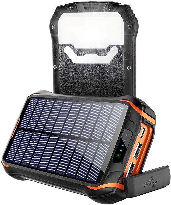 Cargador Solar Portátil Power Bank Solar 268000mAh, Batería Externa Solar con Carga Rápida 3 Salidas USB y 2 Entrada USB-C IP66 Impermeable 18 LED Linterna SOS 4 Modos, para Smartphones y iPad: