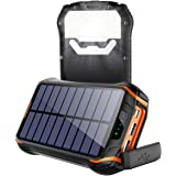 Cargador Solar Portátil Power Bank Solar 268000mAh, Batería Externa Solar con Carga Rápida 3 Salidas USB y 2 Entrada USB…