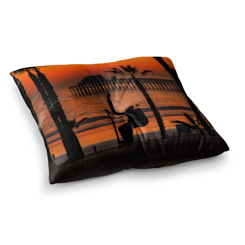 Kess InHouse Juan Paolo Endless Summer Orange Black 23 x 23 Square Floor Pillow
