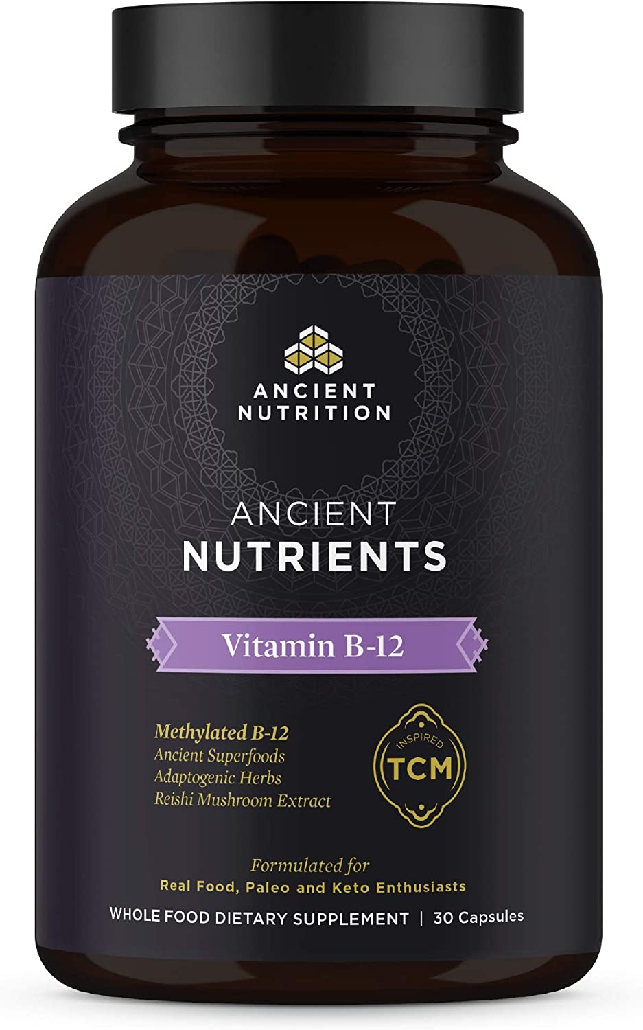 Ancient Nutrition, Ancient Nutrients Vitamin B-12 - Read Food, Adaptogenic Herbs, Enzyme Activated, Paleo & Keto Friendly, 30 Capsules