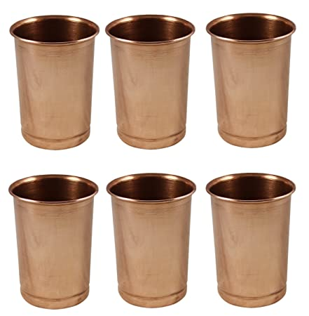 Pure Copper Water Drinking Glasses Set of 6, Ayurvedic Products 350 Ml Glassware & Drinkware at amazon