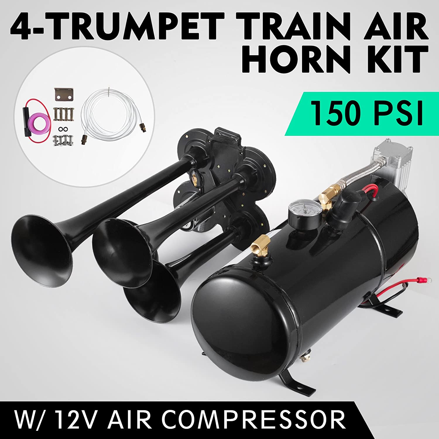 Adoner 4-Trumpet 110 psi Air System 150dB+ Metal 12V Train Air Horn Kit for Car Truck B HXT