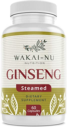 Wakai-Nu Steamed Ginseng with Turmeric Curcumin Dietary – 675mg Per Serving, 60 Capsules Made with Natural Supplement, Herbal Capsule for Enhanced Cognitive Function