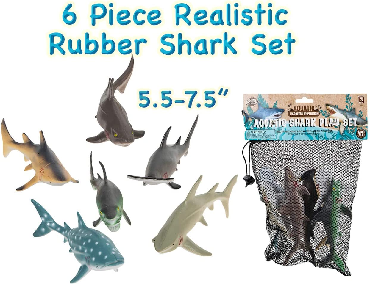 "HOWBOUTDIS (6) Piece Shark Set – Realistic Looking Ocean Sharks – Great for Party Favors, Bath Time, Shark Week – Reusable Mesh Bag – Measuring 5.5 – 7.5""."