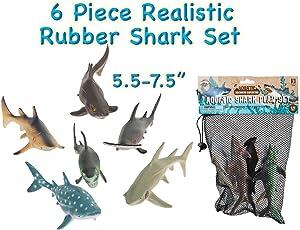 "HOWBOUTDIS (6) Piece Shark Set – Realistic Looking Ocean Sharks – Great for Party Favors, Bath Time, Shark Week – Reusable Mesh Bag – Measuring 5.5 – 7.5""."