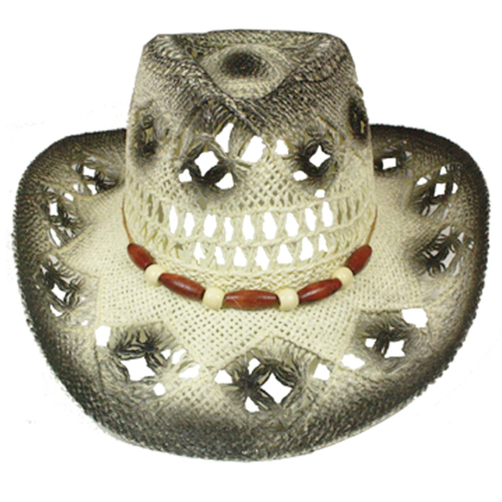 SILVERFEVER Silver Fever Fashionable Woven Straw Cowboy Hat with Cut-Outs  and Beads at Amazon Women s Clothing store  67106802b86