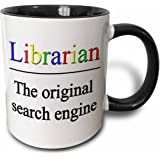 3dRose Librarian The Original Search Engine - Two Tone Black Mug, 11oz (Mug_202958_4), 11 oz, Black/White