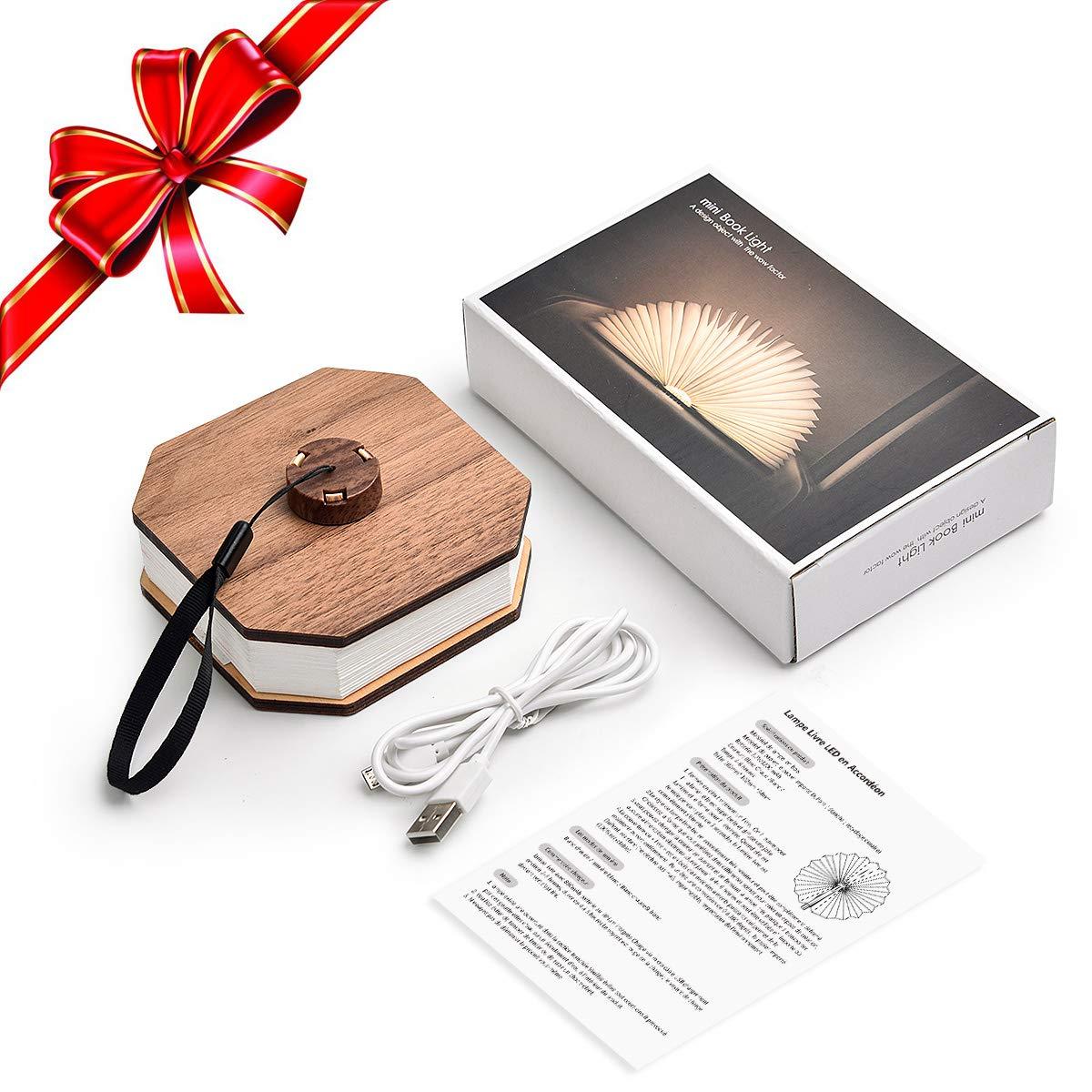 LED Buchlampe Stimmungslicht dekorative Buch Lampe JOLVVN 360/° faltbar Deko Lampen Buchformig Nachtlicht 3 Modi warmwei/ß Licht Weihnacht Geschenk f/ür Frauen Eltern Kinder M/ädchen