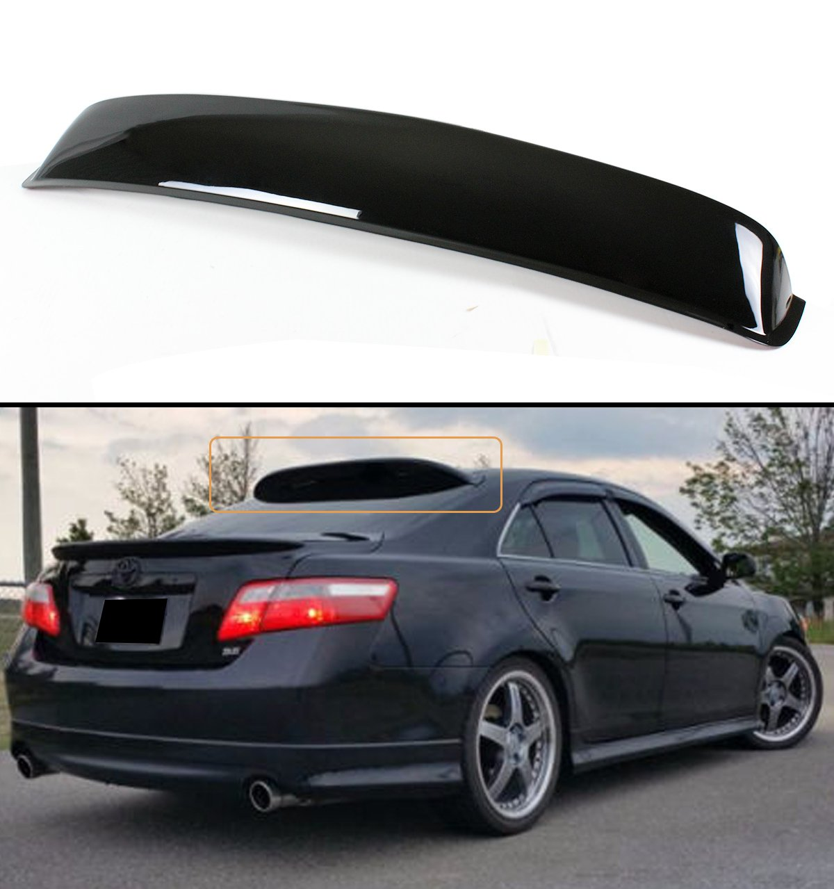 2008 Front Bumper Lip Fits 2007-2009 Toyota Camry OEM Factory SE Style Black PU Front Lip Finisher Under Chin Spoiler Add On by IKON MOTORSPORTS