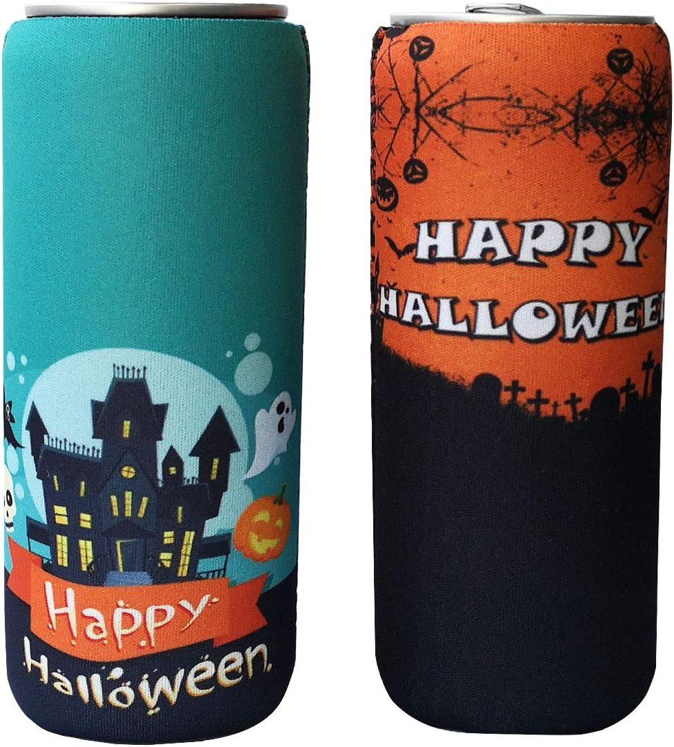 2 Pack Neoprene Slim Beer Can Sleeves, Insulators Beer Can Cooler Covers Fit for 12oz Slim Energy Drink Beer Cans